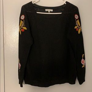 Woven Heart Black Embroidered Sweater